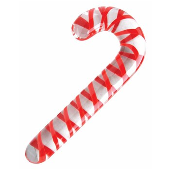 Adam & Eve Candy Cane Glass Dildo at BetterSex.com