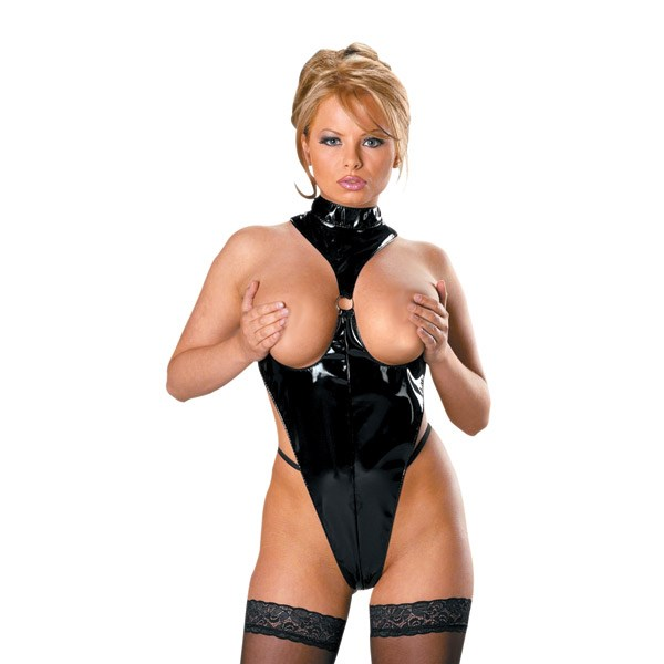 Cupless Vinyl Hot Lingerie Teddy